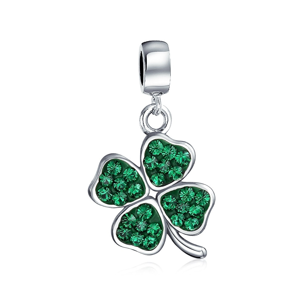Celtic Lucky Leaf Clover Green Crystal Shamrock Irish Dangle Bead Charm For Women 925 Sterling Silver