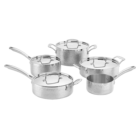 Cuisinart HTP-9 Hammered Collection 9 Piece Cookware Set, Stainless Steel