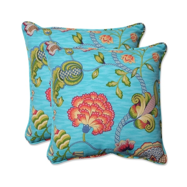 Set of 2 Vibrant Mermaid Blue Square Floral Indoor Outdoor Throw Pillow 18.5""