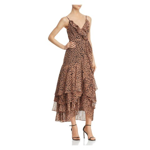 FAME AND PARTNERS Brown Spaghetti Strap Tea-Length Dress 2