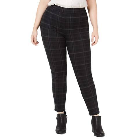 Style & Co. Womens Leggings Black Gray Size 22W Plus Plaid Seamfront