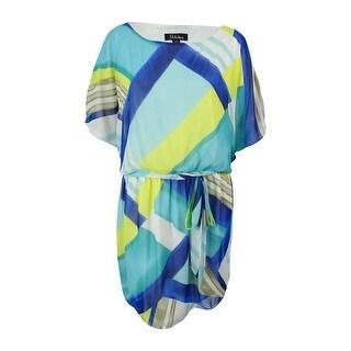 S.L. Fashions Women's Blouson Dress - Blue Multi - 24W
