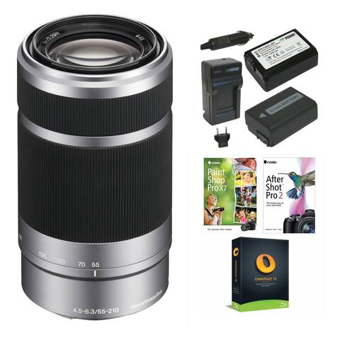 Sony E 55-210mm f/4.5-6.3 OSS E-Mount Lens (Silver) & Accessory Bundle - Silver