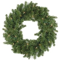 "30"" B/O Pre-Lit LED Canadian Pine Artificial Christmas Wreath - Clear Lights - green"