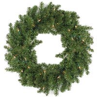 "30"" Pre-Lit Battery Operated Canadian Pine Christmas Wreath - Clear LED Lights - green"