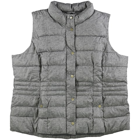 Charter Club Womens Printed Puffer Vest, Grey, XX-Large