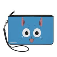 Happy Face Centered Blues Canvas Zipper Wallet