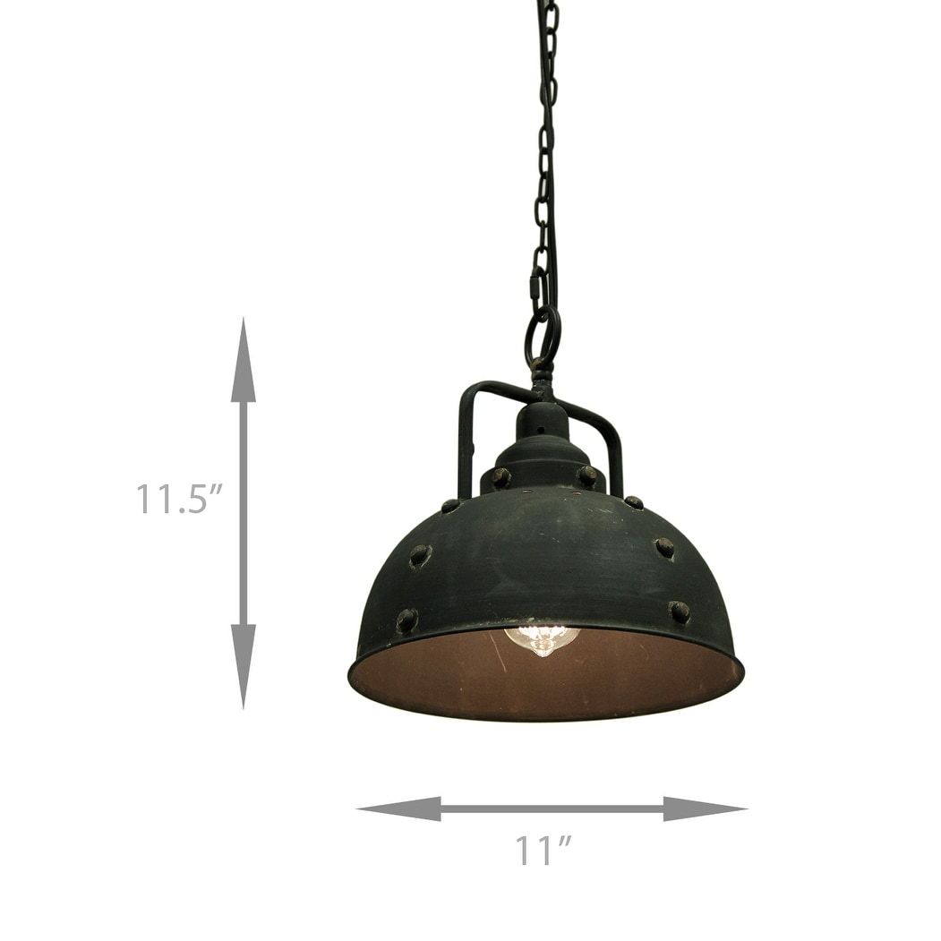 Vintage Rustic Blackened Metal Farmhouse Pendant Light 11 5 X Inches
