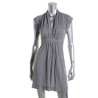 French Connection Womens Chevron Tie-Waist Casual Dress - 4
