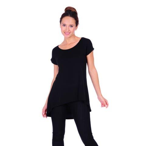 Simply Ravishing Women's Solid High and Low Short Sleeveless Dolman Tunic Top