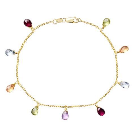 "14K Multi Gemstone Drop Bracelet 7.5"""