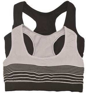 Womens Grey Black Solid Color Stripe Pattern Bralette Top 2 Pc Pack