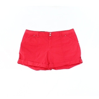 INC NEW Fireberry Red Women's Size 0 Regular Fit Cuffed Twill Shorts