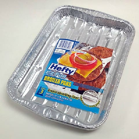 Hefty 91855 EZ Foil Grease Absorbing Broiler Pan, 3 Pack