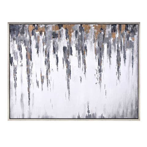 """IMAX Home 76357 37-3/4"""" x 49-3/4"""" - """"Frost"""" Wood Framed Giclee Abstract Oil Painting on Canvas - Silver"""