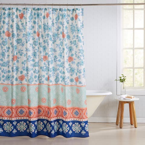 Great Bay Home Floral Printed 13-Piece Shower Curtain and Metal Hook Set