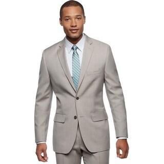 Alfani Mens Slim Fit Light Tan Stepweave Sportcoat Suit-Separate Jacket Blazer