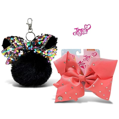 JoJo Siwa Black Fur Ball with Mini Sequin Bow and Coral Signature Bow with Rhinestones 2 Items