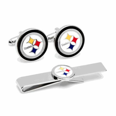 Pittsburgh Steelers Cufflinks and Tie Bar Gift Set NFL - Multicolored - One Size