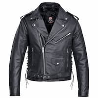 Men Motorcycle Biker Leather Jacket Classic Design  Black MBJ4.2