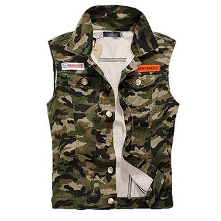 Men's Comfortable Slim Fit Camo Cotton Demin Jacket Sleeveless Vest