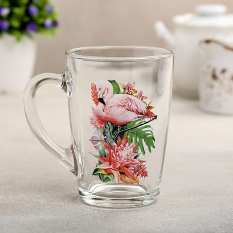 STP-Goods Flamingo in Tropics Glass Tea Coffee Large Mug