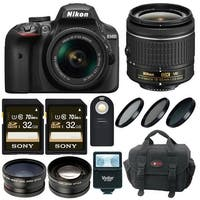Nikon D3400 DSLR Camera with 18-55 Lens and 64GB Kit + Flash, Filters and Bundle