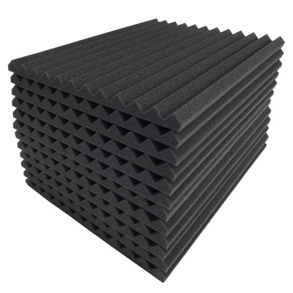 "36 Pack Acoustic Foam Panel Wedge Studio Soundproofing Foam Wall Tiles 12X12X1"" - charcoal"