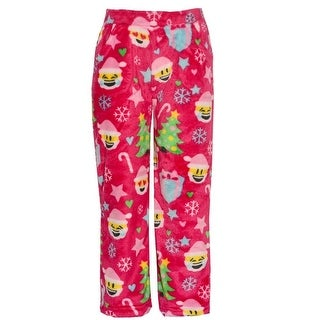 Candy Pink Little Girls Red Christmas Emotican Mixed Print Pajama Pants