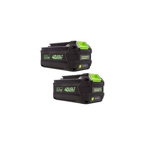 Greenworks L-300 40V 3AH Smart Lithium-Ion Battery (2 Pack) - Green
