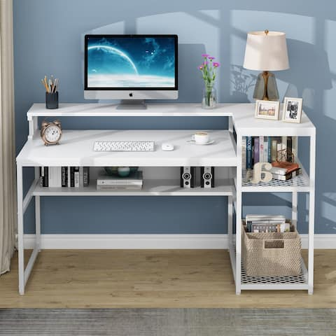 """63"""" Modern Computer Desk with Hutch and Storage Shelves"""