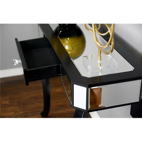 Shop Katrina 1 Drawer Mirrored Console Table Black Free Shipping