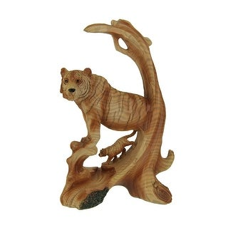 Tiger On the Mountain Faux Carved Wood Look Statue - 9 X 6 X 2.5 inches