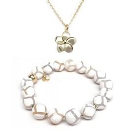 White Agate Bracelet & Flower Gold Charm Necklace Set