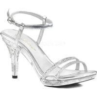 Fabulicious Women's Iris 416 Ankle Strap Sandal Silver Metallic Polyurethane/Clear