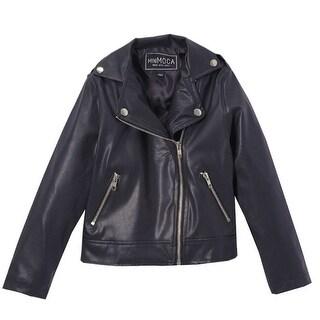 Mini Moca Girls Black Faux Leather Zipper Pockets Jacket