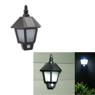 PIR Infrared Body Motion & Light Sensor Solar Powered Panel Outdoor LED Wall Yard Garden Light Lamp