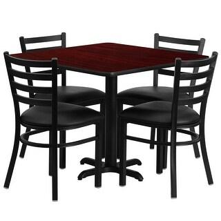"Dyersburg 5pcs Table Set Square 36"" Mahogany X-Base, Black Chairs"