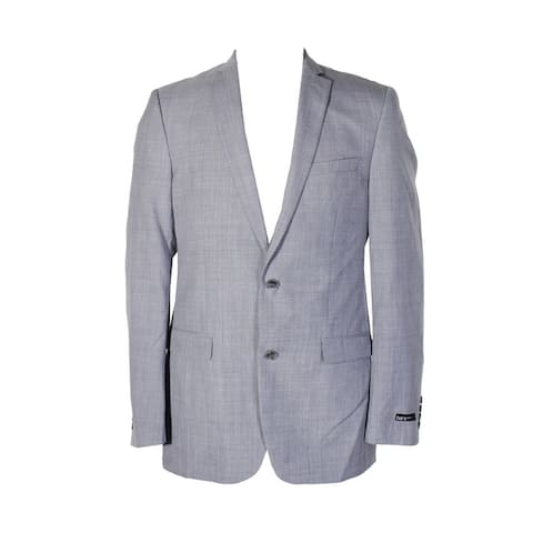 Bar Iii Mens Light Gray Step Weave Slim Fit Notched Lapel Double Button Blazer