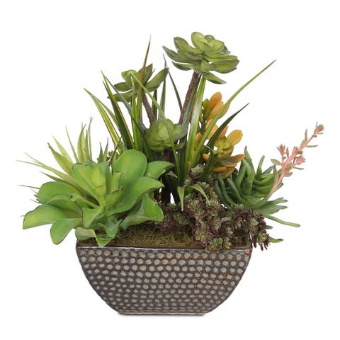 Artificial Succulents in Square Green Ceramic Pot - 13W x 11D x 12H