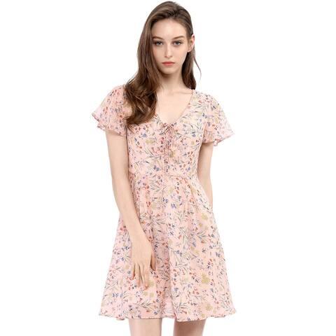 Unique Bargains Women Floral Lace-up V-neck Chiffon A-line Dress
