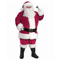 6-Piece Regency Plush Red Santa Claus Christmas Suit Costume - Adult Size 40-48