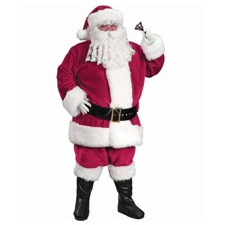 6-Piece Regency Plush Red Santa Claus Christmas Suit Costume - Adult Size 40-48