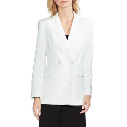 Vince Camuto Women's Blazer White Ivory Size 14 Double Breasted Crepe