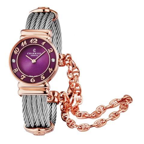 Charriol Women's 028PAD4.540.566 'St Tropez' Prune/Purple Dial Stainless Steel Diamond Quartz Watch