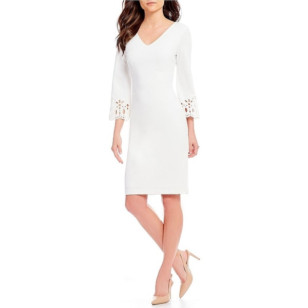 be43ee9e Shop Calvin Klein Laser Cut-Out Bell Sleeve Sheath Dress, Soft White ...