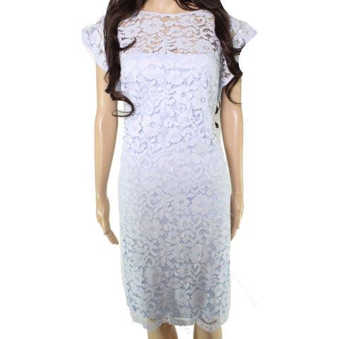 Lauren by Ralph Lauren Womens Dress Sky Blue Size 0 Sheath Lace Floral
