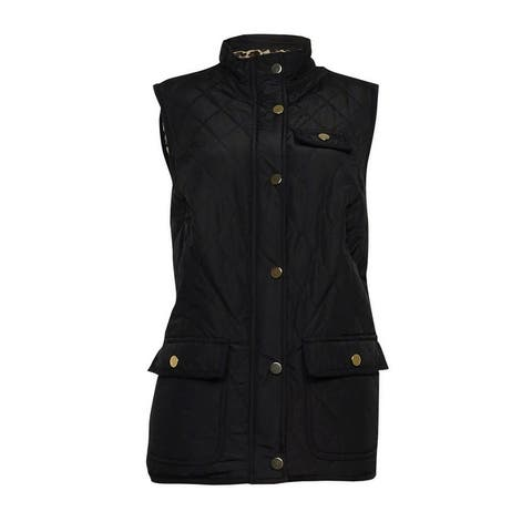 Charter Club Women's Quilted Sleeveless Snap Button Vest - Deep Black - S