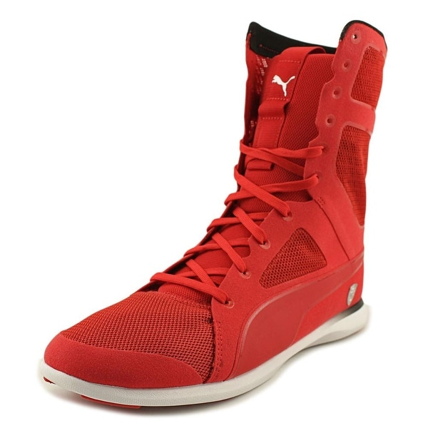 Puma Ferrari High Boot Women Round Toe Synthetic Red Sneakers