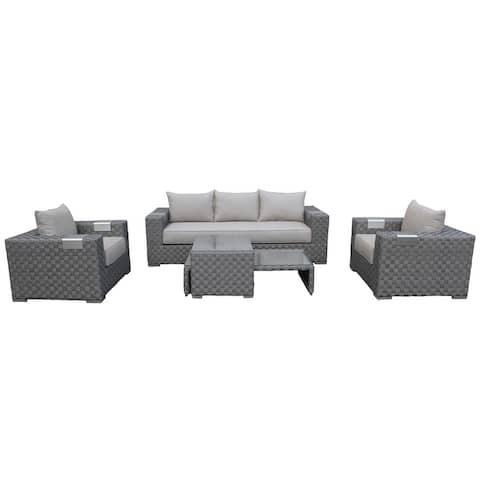 Cozy Corner Patios Garden Furniture  5 Seater Sectional Patio Furniture  4-Piece Outdoor Sectional